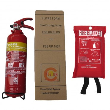 premium fss uk 1 litre foam fire extinguisher with fire blanket ce marked