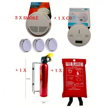home safety essentials fire extinguisher blanket smoke x 3 co detector ce marked
