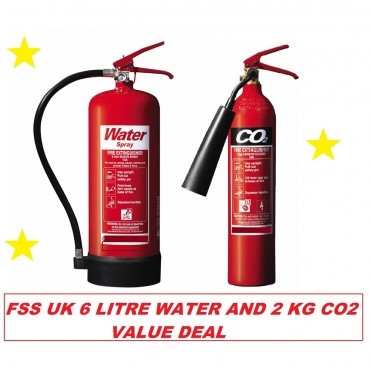 Fire extinguisher set (2kg CO2 + 6ltr Water) BS Kitemark