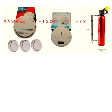home safety essentials pack fire extinguisher smoke x 3 co detector ce mark