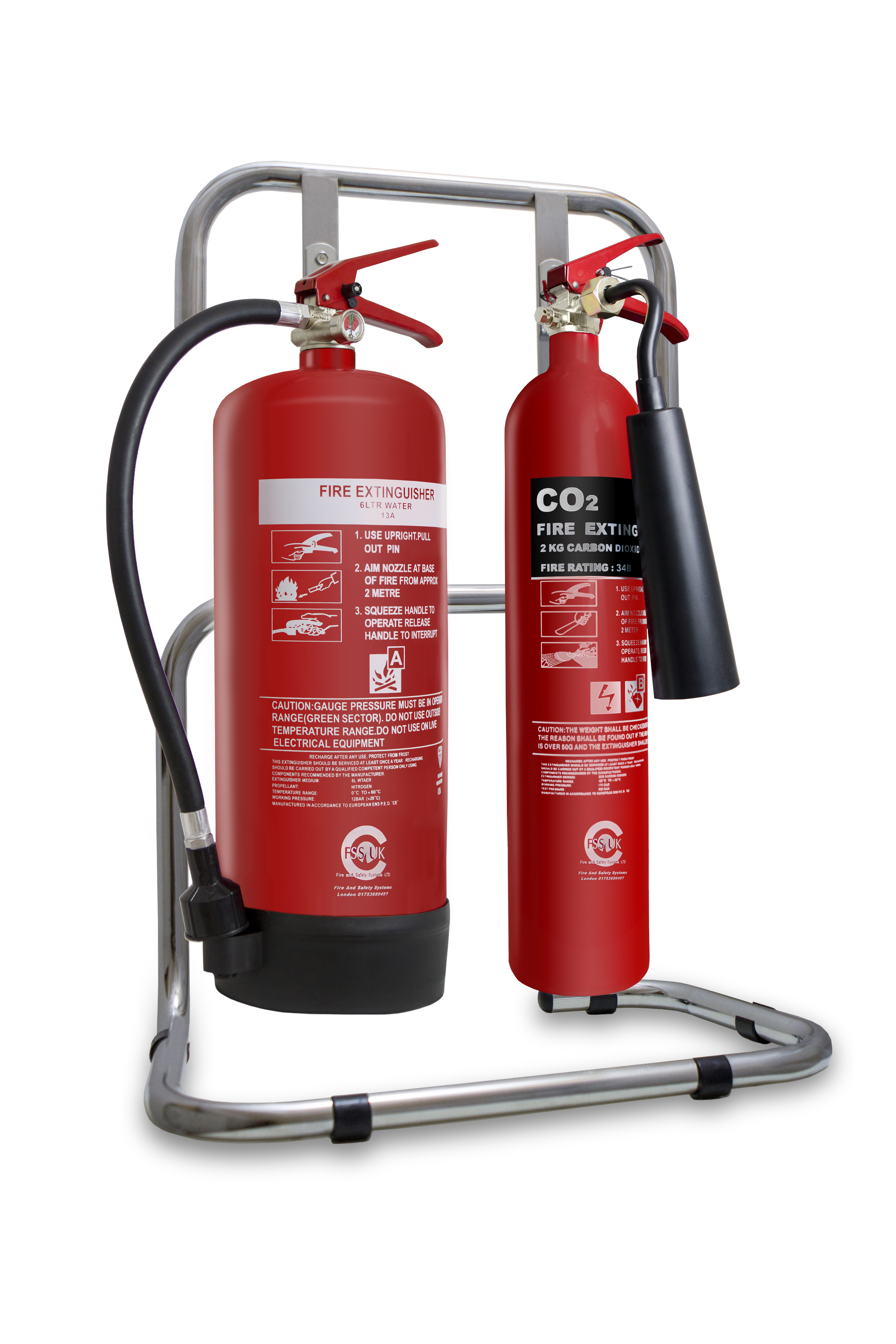 2kg CO2 Fire Extinguisher - 6L Water Fire Extinguisher - stand