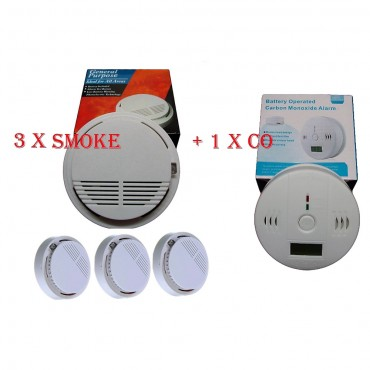 home fire safety pack smoke fire alarm detector x 3 co detector x 1 ce marked